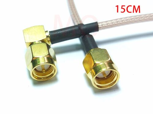50PCS SMA Male to SMA Right Angle Male Plug Jumper Pigtail Cable 15CM RG316