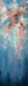 Art-contemporain-Paysage-abstrait-Peinture-Tableau-de-HZEN-L-039-EPHEMERE-30x90