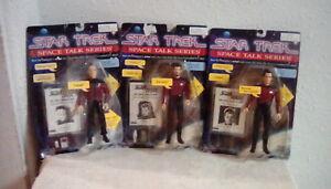 1995 Star Trek Space Talk Series Lot Of 3 Picard Riker & Q Playmates Toys