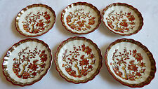 Spode Copeland England Indian Tree rusty red porcelain Set of 6 butter pots
