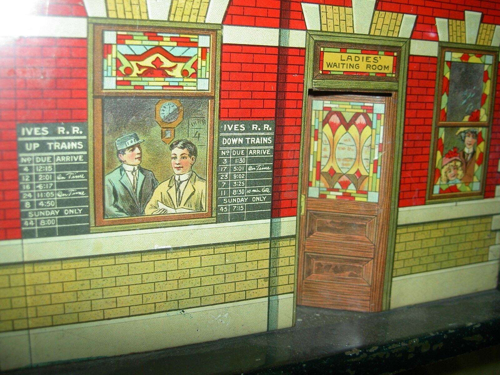 Ives Nº 113 Estación Unión Litografía preguerra estándar calibre estación de tren con la historia