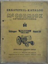 Mc Cormick Schlepper Modell DF Ersatzteil Katalog