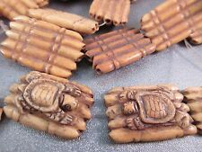 Camel Bones Carved Turtle Beads 6pcs