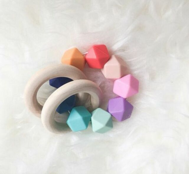 50x natural 40mm unfinished wood round rings jewellery teeth baby nursing wooden