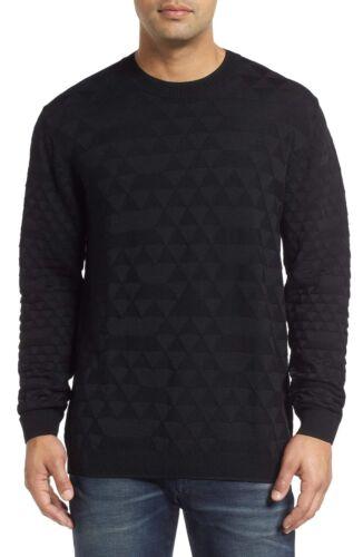 Robert Graham Men/'s Black Lombards Jacquard Wool Blend Crewneck Pullover Sweater