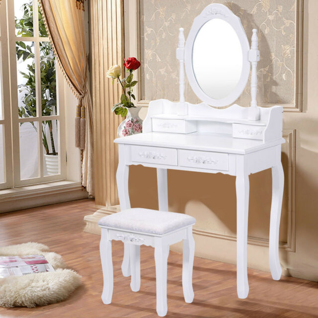Vanity Makeup Table Set With Mirror Stool For Women Girls Wooden Modern  White