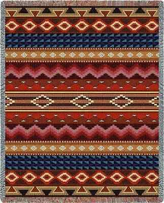 SOUTHWEST INDIAN DESIGN MESSILA RED TAPESTRY THROW AFGHAN BLANKET 54x70
