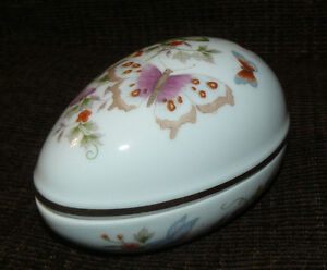 Vintage Fine Porcelain 22K Gold Trim Avon Powder Box  Egg