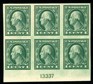 USAstamps Unused XF US Washington Imperforate Plate Block Scott 481 OG MNH