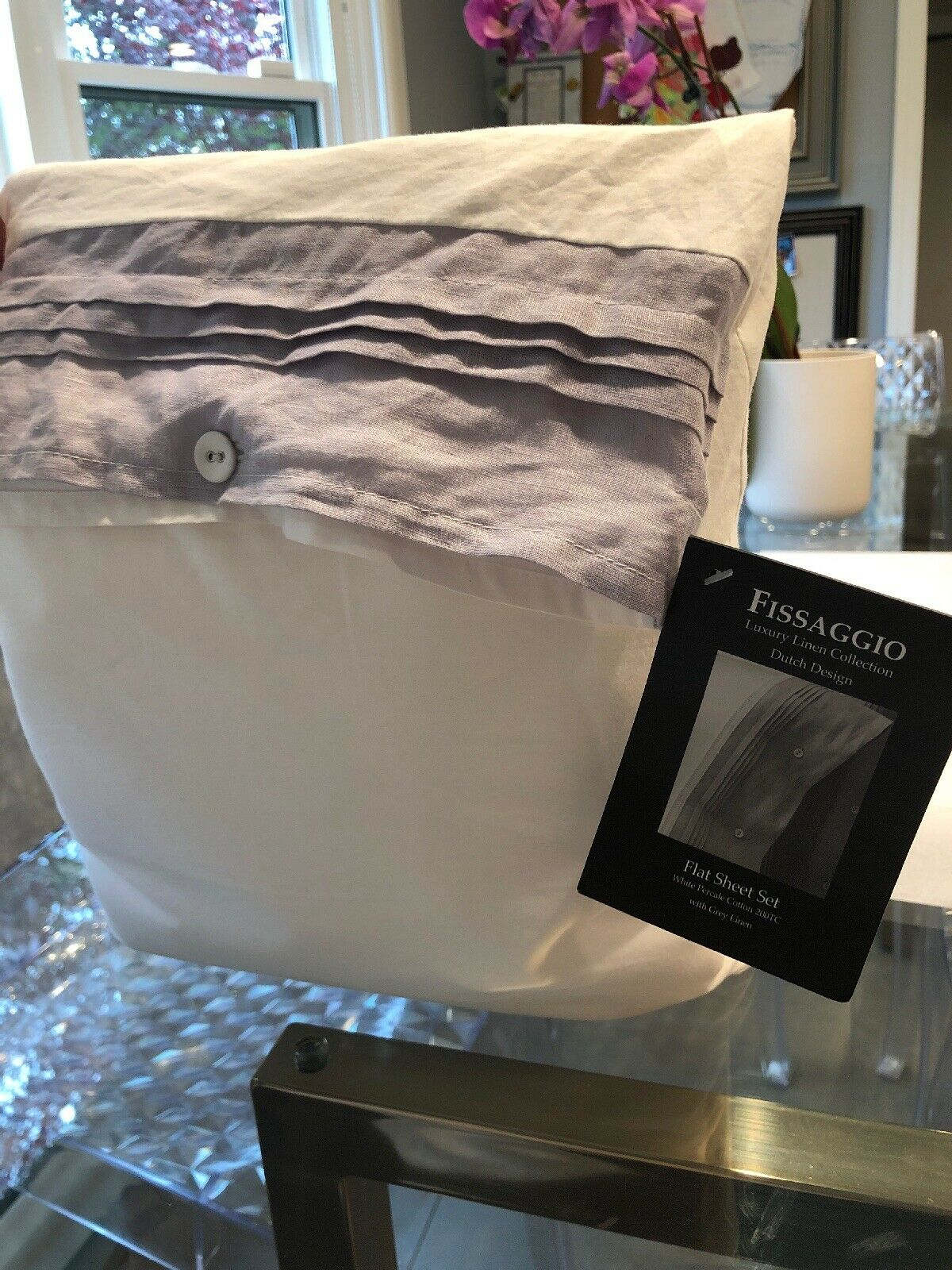 Fissaggio King Sheet Set Weiß Cotton grau Linen Border Brand New Free Shipping