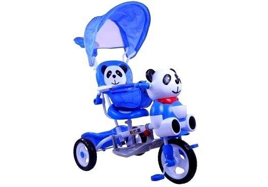 Dreirad Panda Blau Sonnendach Stahlrahmen Korb