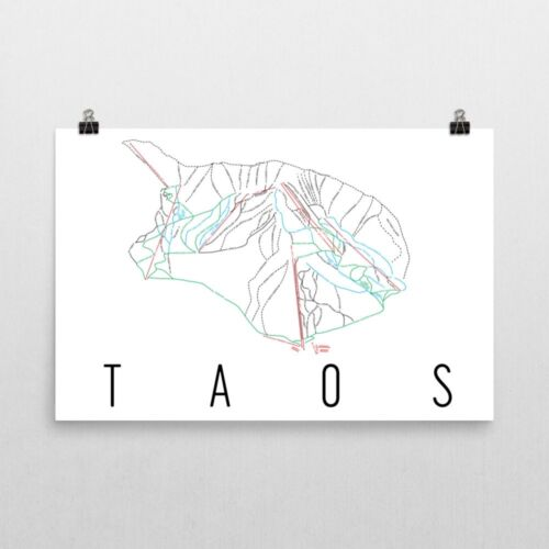 Taos Ski Trail Map Poster