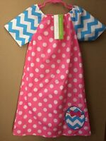 Girls Boutique Easter Applique Dot Long Dress 3t 4t 5 9 12 18 Months