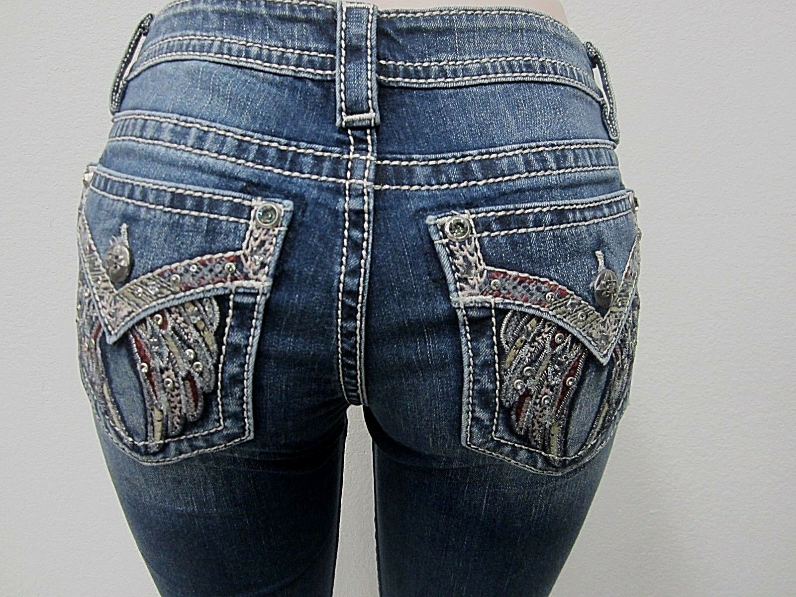 NWT CUTE Miss Me Mid Rise Embellished Wings Skinny Denim M3040S Size 25 X 30