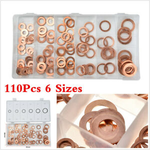 Details about 110Pc 6 Size Copper Solid Sealing Crush Copper Washer Bolt  Seal Ring Kit For Car