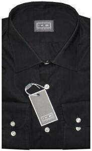 NEW-IKE-BEHAR-SOLID-BLACK-CLASSIC-FIT-DRESS-SHIRT-17-34-35