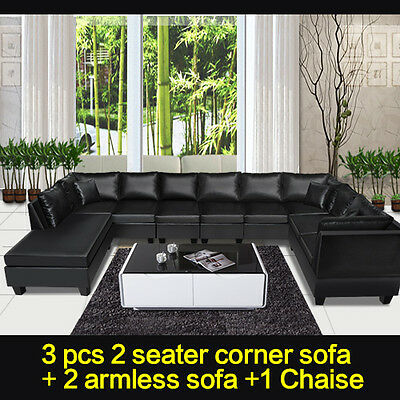 New Black Modern PU Leather Sofa 9 Seater Chaise Corner Sofa Lounge ...