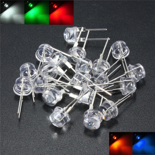 20 pack 8mm Straw Hat LED Bright 0.5W 5 Colors Light Emitting Diode DIY Lamp US