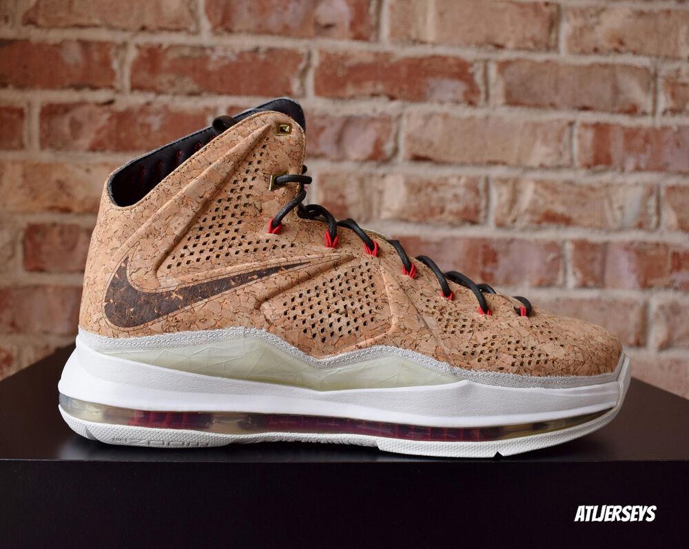 Nike Air Lebron James X 10 EXT Cork QS Classic Brown rouge  Chaussures de sport pour hommes et femmes