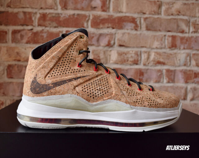 info for a4c9e 85819 Nike Air Lebron James X 10 EXT Cork QS Classic Brown Red Sz 580890-200
