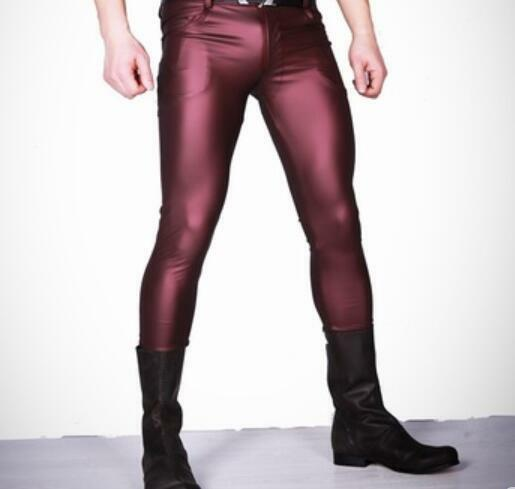 Mens Sexy Skinny Pants Faux Leather Casual Trousers Slim Fit Tight Zipper 2018