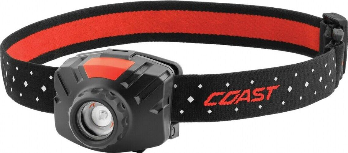 FL60R COAST Rechargeable LED Headlamp Wide Angle Flood Beam w Accessories, rosso