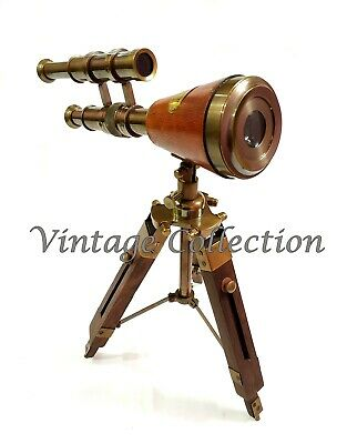 """Vintage 39/"""" Brass Double Barrel Telescope Nautical Maritime With Tripod Stand"""