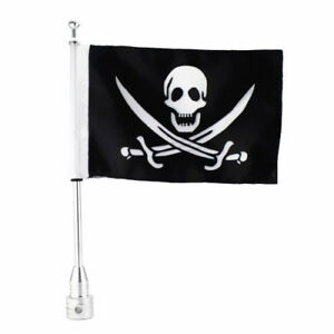 Motorcycle Skull Luggage Rack Vertical Flag Pole Flag For