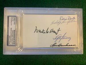 PSA-HOFer-Multi-Autograph-3x5-Index-Roberts-Lindstrom-Hoyt-Gomez-Boudreau