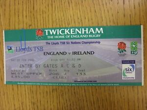 05-02-2000-Rugby-Union-Ticket-England-v-Ireland-At-Twickenham-Folded