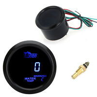 2 52mm Blue Led Water Temperature Temp Gauge W/ Sensor For Car Auto Black Body