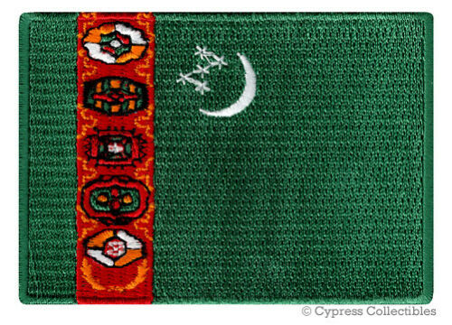 TURKMENISTAN FLAG embroidered iron-on TURKMEN PATCH SOUVENIR EMBLEM BANNER rare