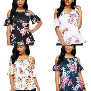 Cold-shoulder-top-shirt-Ladies-Floral-print-background-Summer-12-14-16-18-20-22