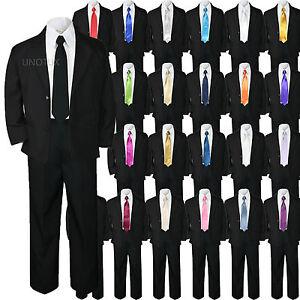 5pc Baby Baby Toddler Kid Boy Wedding Formal Black Tuxedo Suit Extra Tie sz S-7