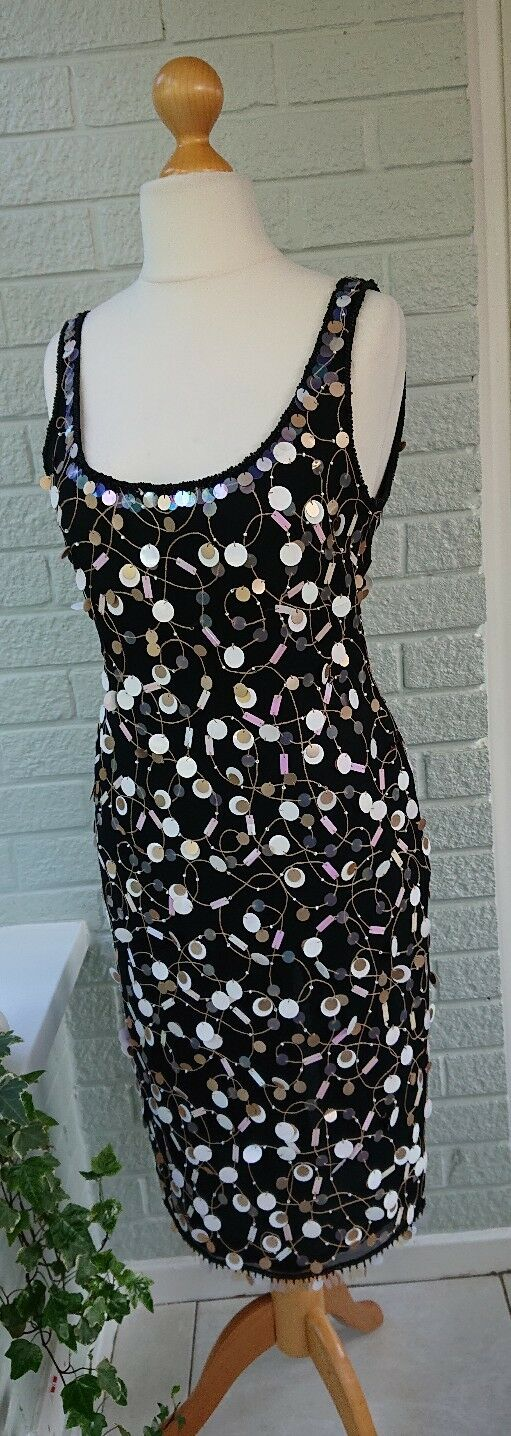 FRANK USHER Sequin Beaded Flapper Dress 1920's Gatsby Evening Christmas Party 10