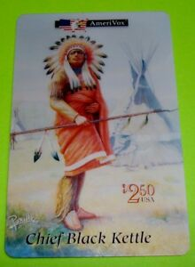 Collectible-1994-CHIEF-BLACK-KETTLE-Native-American-AmeriVox-2-50-Phone-Card