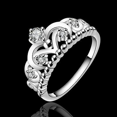 NEW Fashion 925 sterling Silver Lady Crown wedding Crystal Ring Jewelry R601