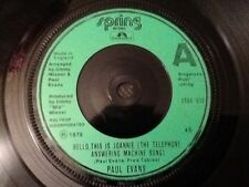 """PAUL EVANS Hello, This Is Joannie The Telephone Answering Machine Song 1978 7"""""""