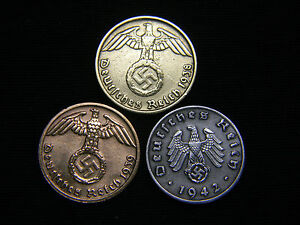 Rare-Authentic-1937-1945-WWII-German-Brass-Bronze-amp-Zinc-Currency-Coins-Lot