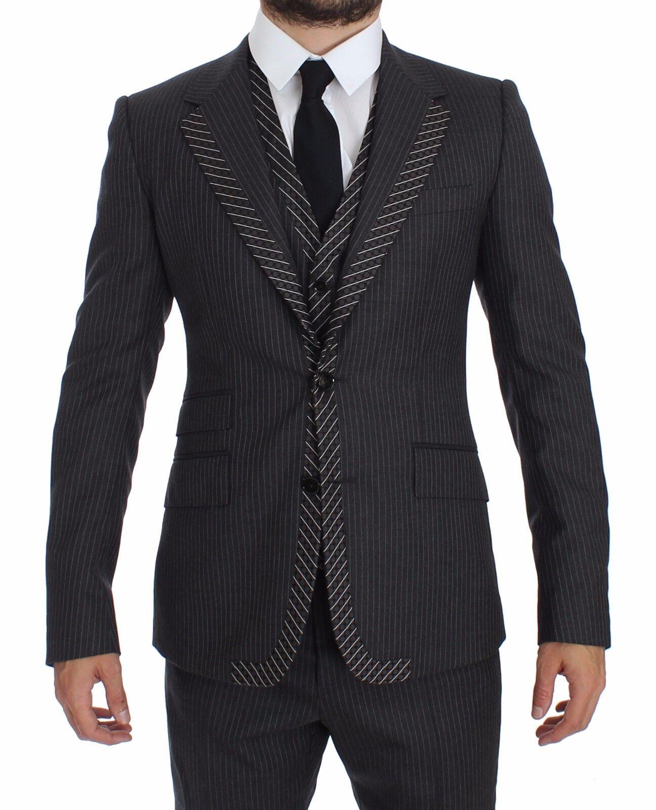 NEW DOLCE & GABBANA Suit Tuxedo grau Striped 3 Piece Slim EU44/ US34/ XS