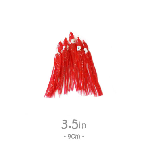 "50pcs 3.5/"" Squid Skirt 9 cm Octopus Hoochies Rock Fishing soft Lure 5-color set"