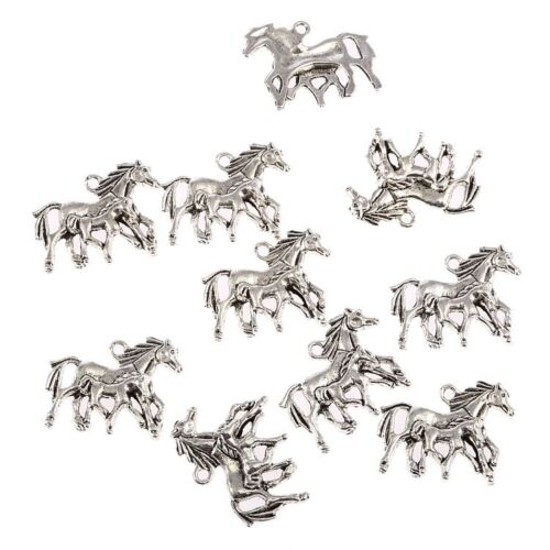 Mother Baby Horse Beads Tibetan Silver Charms Pendant DIY Bracelet 8pcs 28*23mm
