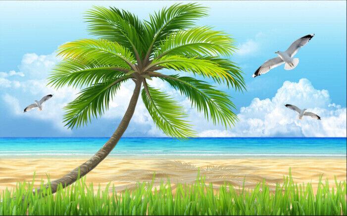 3D Coconut Beach 772 Wallpaper Mural Paper Wall Print Print Print Wallpaper Murals UK Lemon 7d1503