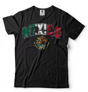 Mexico-T-shirt-Mexican-Heritage-Mens-Unisex-National-Flag-Eagle-Coat-of-Arms-Tee