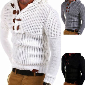 Winter-Men-039-s-Knitted-Casual-Jumper-Sweater-Hooded-Pullover-Top-Cardigan-Knitwear