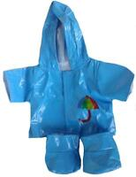Sky Blue Raincoat With Soft Boots Outfit Clothes Fits 16 Inch/40cm Build A Bear