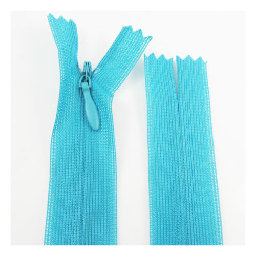 """5/""""-10/"""" CONCEALED INVISIBLE No.3 NYLON ZIPS *38 COLOURS SEWING CLOSED END ZIP"""