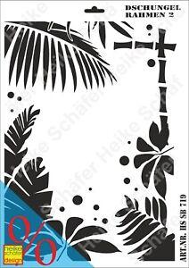 Schablone-Stencil-A3-183-0719-Dschungel-Rahmen-2-Neu-Heike-Schaefer-Design