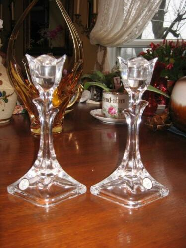 "#33 TULIP candle holder made U.S.A. 24% Lead crystal clear glass 7.75"" in tall"