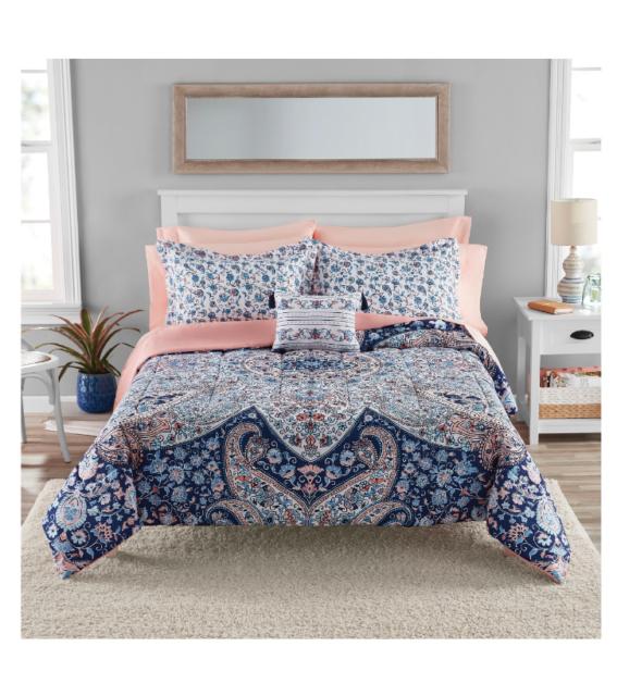 Full Size Bedding Set Comforter Sheets Bed In a Bag Polyester Complete Medallion
